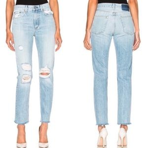 rag & bone Marilyn straight leg raw hem jeans 28